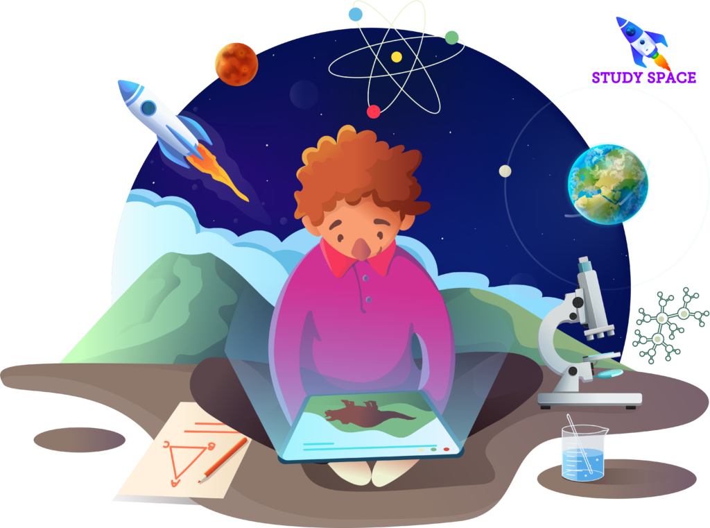 Study Space app on an ipad with kid exploring learning content